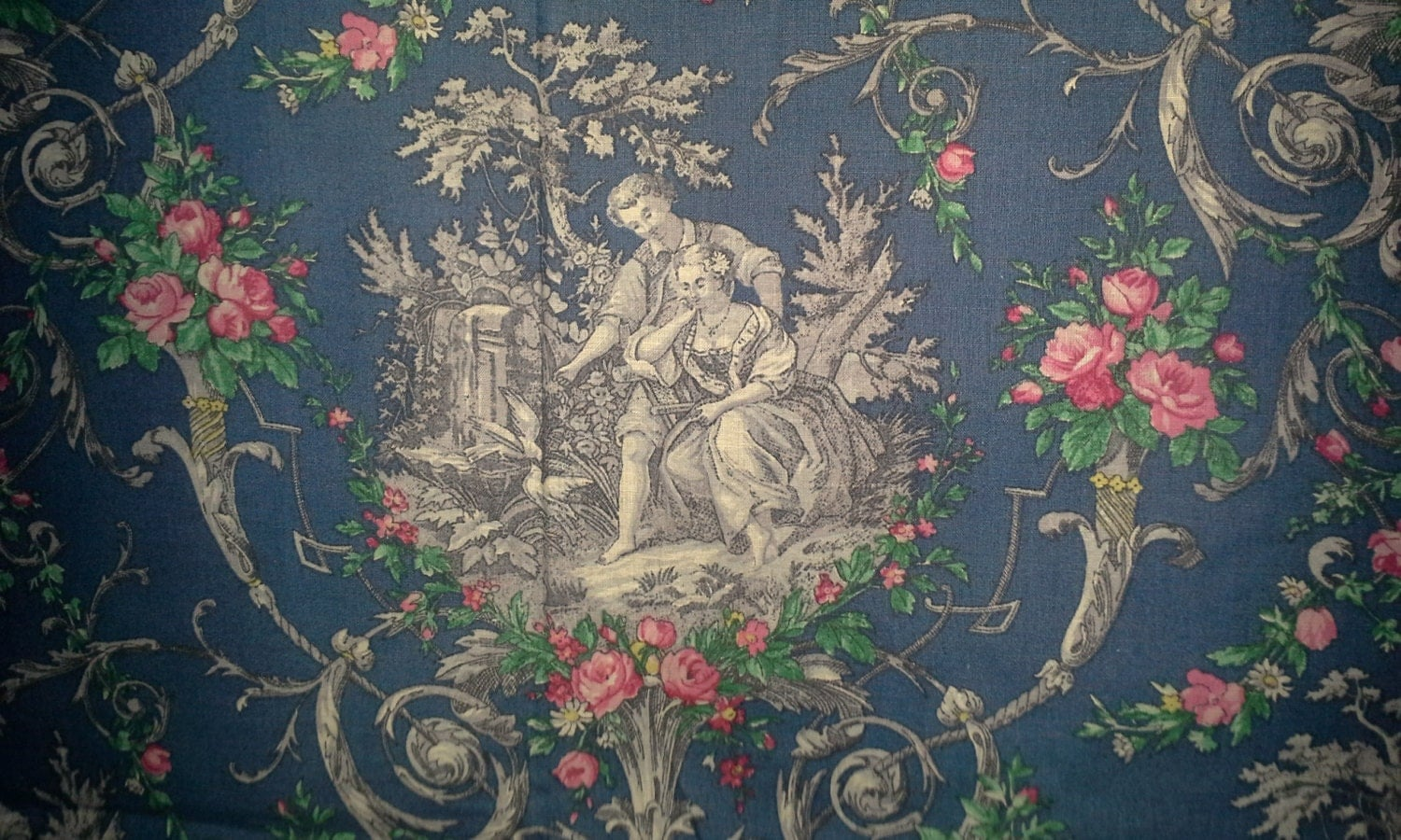 Vintage french toile fabric courting by emmascottageboutique for French toile fabric