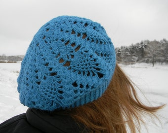 Spring hat Adult slouchy beanie Lace Hat Blue hat Spring beret warm Wool crochet women french crocheted Ladies Winter Hat sale