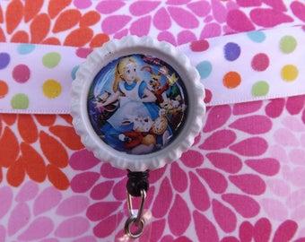 white alice in wonderland badge holder