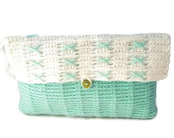 X's Aqua & White Crochet Wristlet