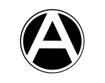 "Anarchy A White 1"" pinback button"