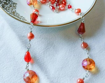 "Sale~Handcrafted Orange Freshwater Pearl & Glass Crystal Necklace~Approx 30"" Long~No Clasp"