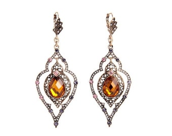 Ornate Amber Teardrop Crystal Drop Earrings