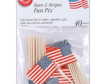 Stars & Stripes Cupcake Picks