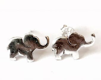 Sterling Silver Elephant Stud Earrings/Highly polished/Gifts/wedding/bridesmaid