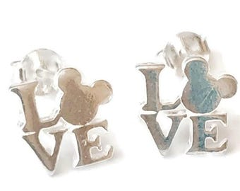 Sterling Silver Disney Love Stud Earrings/Highly polished/Gifts/wedding/bridesmaid