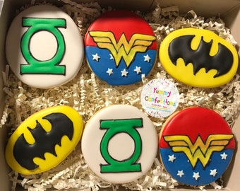 Super Hero Cookies; Super Hero Birthday Cookies; Green Lantern Cookies; Batman Cookies; Wonder Woman Cookies - 1 DOZEN (12 Cookies)