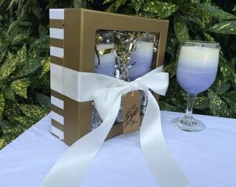 Lavender Candle Gift Set - Candle Gift Set - Birthday Gift Set - Lavender Candle - Wine Glass Candle - Birthday Gift - Bridesmaid Gift Set