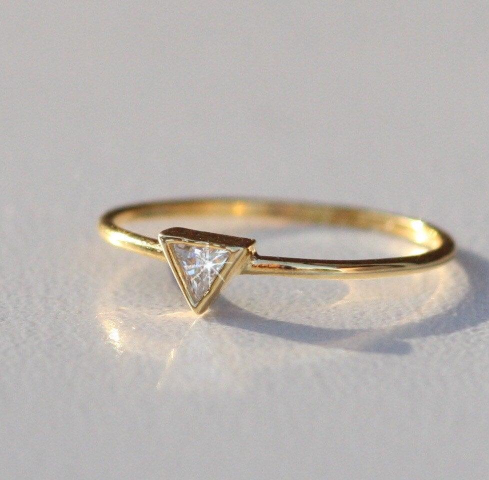 triangle wedding ring triangle gold by adoreandjewelry