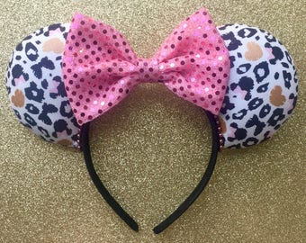 Prints and Pink Ears, Cheetah Print Ears, Disney Ears, Minnie Mouse Ears