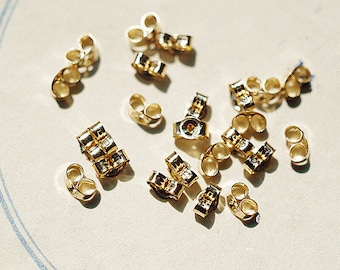 Pair of 14K Gold-plating 2.5x4.0mm Ear plug Earring plugs Jewelry accessory DIY earring piece Craft Supply