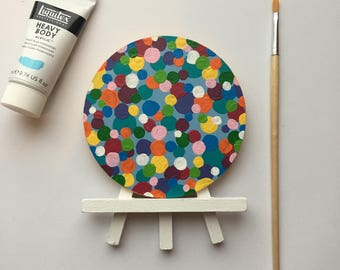 Original Art, Miniature Art, Mini Painting, Abstract Painting, Abstract Art, Rainbow Art, Original Painting, Round Art