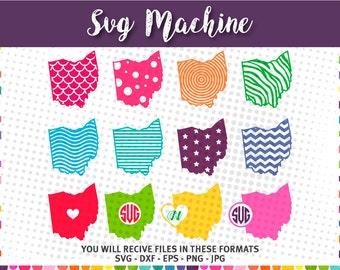 Ohio monogram pattern designs - Ohio State SVG - Cut Files for Cricut - files for silhouette svg – chevron pattern - svg dxf eps