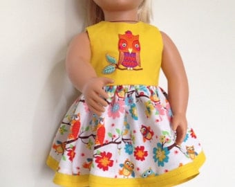 Bright summery dress with owl applique for 18in dolls like American Girl and Our Generation.