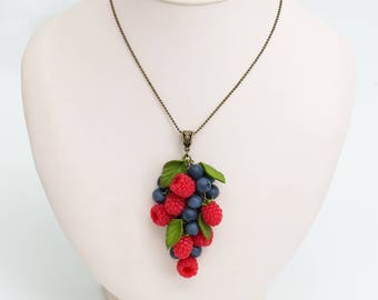 "Necklace ""raspberries and blueberries"""