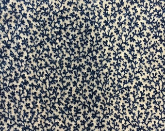 Printed Cotton Fabric of Mini Navy Vines on a Cream Background, #dr125