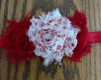 Triple Red and White Apple Shabby Flower Headband - Choice Elastic - Custom Size
