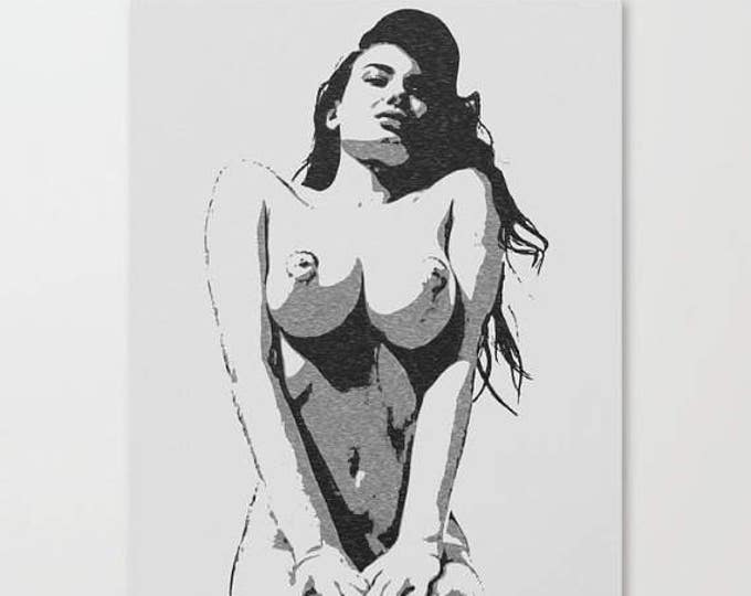 Erotic Art Canvas Print - Simply perfect, unique sexy conte style drawing, perfect shapes girl kneeling sketch, sensual high quality artwork