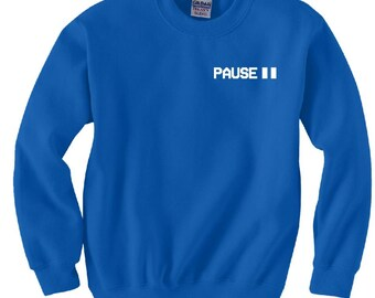 Pause sweatshirt | blockbuster hoodie | vhs movie crewneck sweat shirt | vcr hoodie XS-XXL Sizes