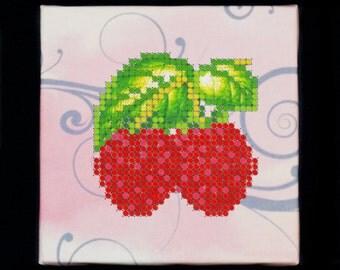 "Bead embroidery magnet DIY kit ""Raspberries""/ Fridge magnet/ Handmade gift idea/ Beadwork embroidery magnet kit"