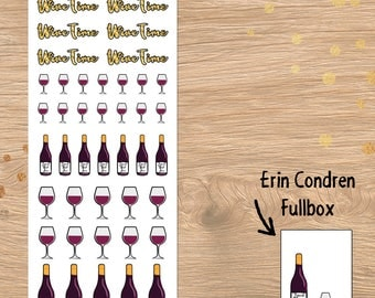 Wine Time Stickers Wine bottles wine glasses perfect for Erin Condren and Happy Planner( DD247)
