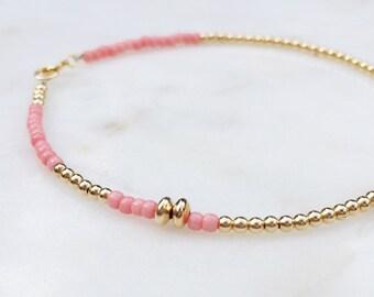 Gold & Pink Beaded Bracelet / Gold bead Bracelet / Delicate Beaded Bracelet