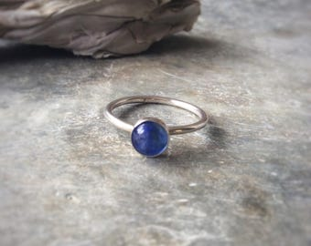 BLUE QUARTZ RING - Sterling Silver Ring - Stacking Ring