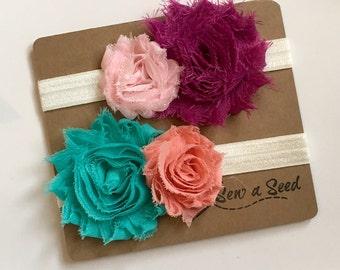 Baby Headband Set, Flower Headband Set, Flower Duo, Teal and Peach Flower Headband, Plum and Pink Flower Headband, Spring Headband Set