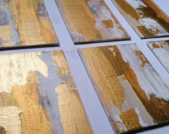 Acrylic Gold Painting Set of 6 Small Abstract Set of Wall Art / Gold White Metallic on Canvas 5 x 7 Set Textured Art Gift / LittleArtLondon