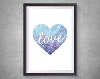 Watercolor Love Heart Print, Geometric Heart, Printable Art, Digital Print, Instant Download, Home Decor, Blue Watercolor Print - (D024)