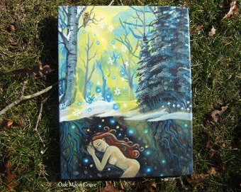 """In Winter Dreaming - Original Painting, 14 x 11"""" on Stretched canvas, OOAK"""