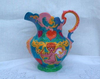 Handpainted Edwardian jug with cherubs