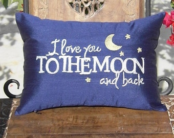 Embroidered Pillow Covers-FREE SHIPPING- I love you too the moon and back, to the moon pillowcase Anniversary Lovers Gift