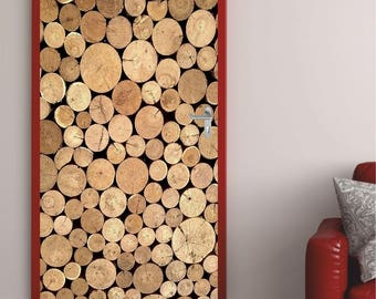 """Door poster """"Firewood"""" """"door sticker - selbstkleb..."""