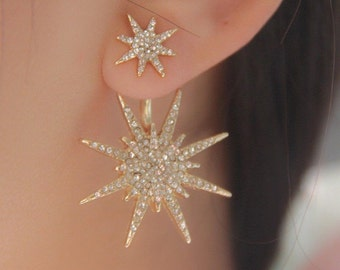 Lady Crystal Rhinestone Gold Big Double Six-pointed Star Ear Stud Party Earrings