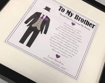 Brother Of The Bride Gift - Suit Illustration - To My Brother On My Wedding Day - Thank You For Giving Me Away - Personalised Print