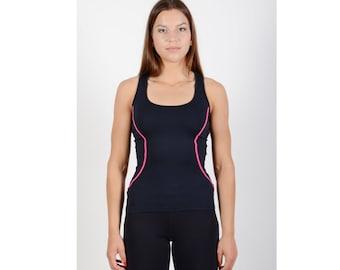 Women gym t-shirt - Sport black t-shirt - Women jogging t-shirt - Workout t-shirt - Women aerobics top - Yoga t-shirt - SPM02-12