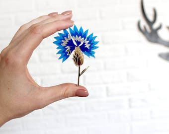 Brooch Сornflower - Laser Cut Сornflower - Сornflower Acrylic Brooch - Сornflower Jewelry - Plexiglas - Handmade - Barnaul