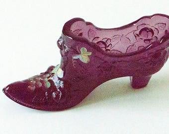 Fenton purple hand painted shoe