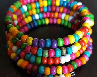 Multicolor wood beaded bracelet