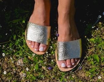 Sandals,Leather sandals,Greek sandals,Slide sandals,Women's sandals,Elegant sandals,Triskelion,LETO
