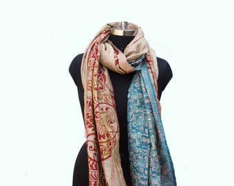 Hand Embroidered Kantha Silk Scarf, Patchwork Silk Scarf, Multicoloured Wrap Around, Neck Scarf, Indian Silk Scarf, Beautiful Print Scarf