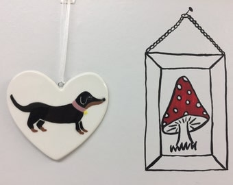 Black and Tan Sausage Dog, Dachsund, weener, wiener - Hand painted ceramic heart