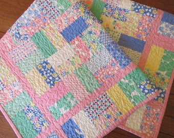 Baby Quilt, multi-color pastel