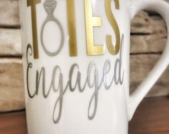 Engagement gift, engaged, fiancé, coffee mug, bride to be, wedding shower gift, future mrs, engagement coffee mug, fiancé mug, gift