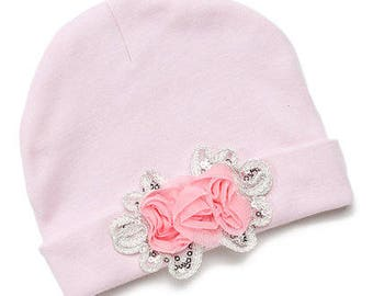 Pink Rosette Beanie, Baby Girl Pink Beanie, Baby's Pink Beanie, Infant Girls Pink Beanie, Girls Spring Beanie, Mauve Rosette-Accent Beanie