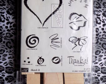 Stampin Up!  Rubber Stamp Set Sketch it  2 sayings thanks heart,ribbon,lady bug dots  New unmounted Stamps scrapbooking cardmaking