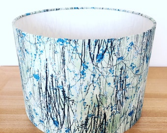 Handmade Fabric Lampshade. Teal, duck egg and silver willow trees