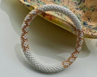 Nepal roll on Bracelet. Beaded Bracelet Handmade by Ramila Beads, White and Gold Nepal Bracelets.