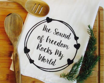 Tea Towel- Military Gift- Military Towels- The Sound of Freedom Rocks My World- Naval Aviation- US Navy- Air Force- Army- Marine Corps